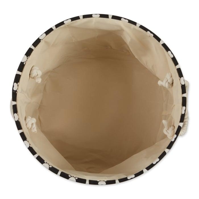 Black Lattice Paw Polyester Round Medium Pet Bin