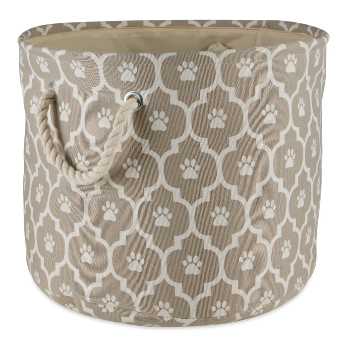 Stone Lattice Paw Polyester Round Medium Pet Bin