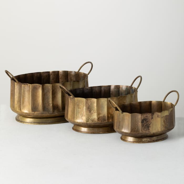Gold Metal Set of 3 Decorative Bowls