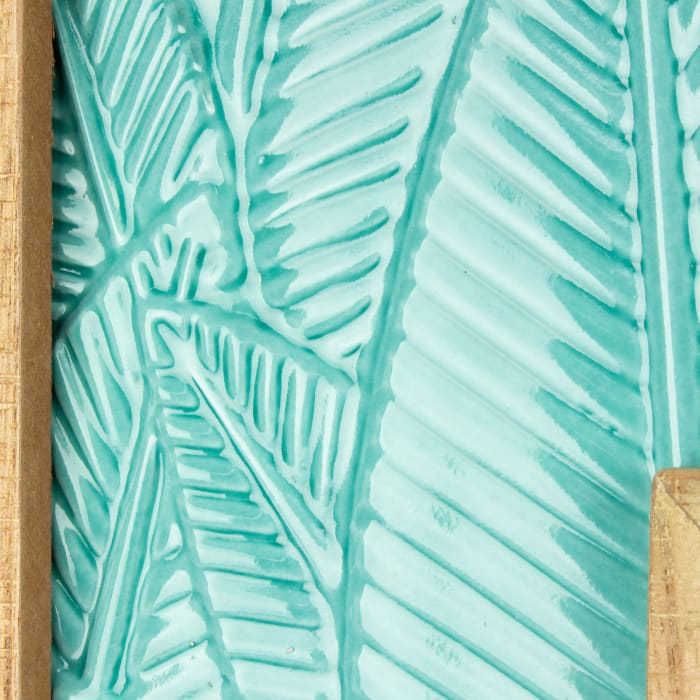 Metal and Wood Teal Tropical Stamped Wall Mirror