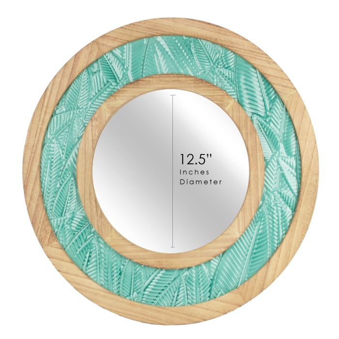 Metal & Wood Teal Tropical Circular Wall Mirror