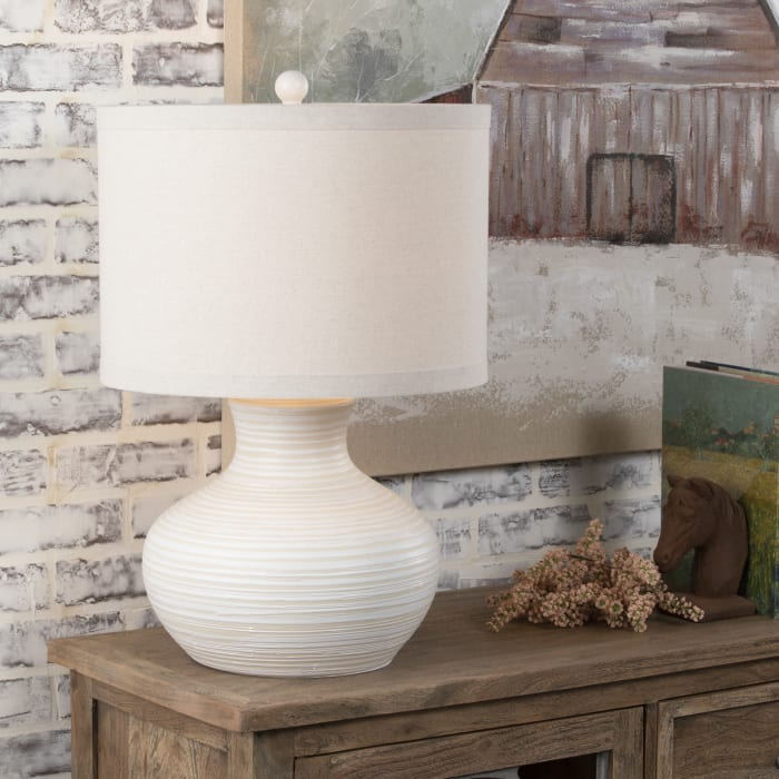 Xander Glazed Ceramic White Lamp