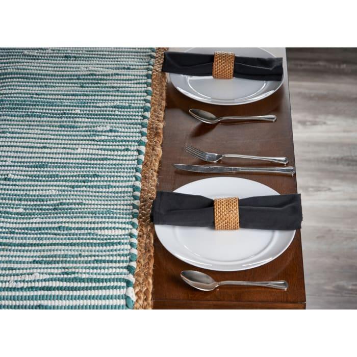 Bordered Striped Blue Jute Table Runner