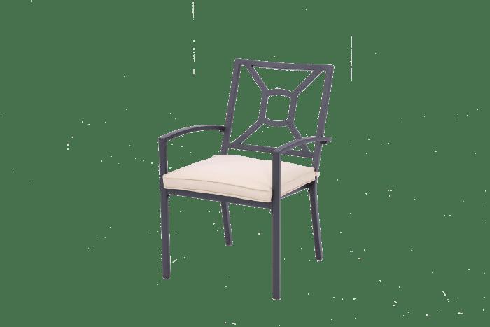 San Marino Outdoor Aluminum Dining Armchair with Cushion Set of 2