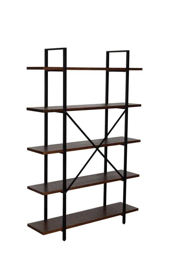 Rochester Walnut Brown Etagere 5-Shelf Bookcase