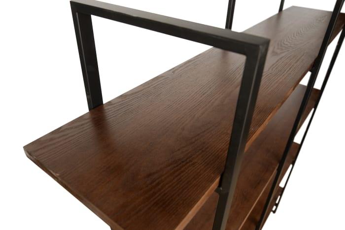 Radford Walnut Brown Double Etagere 4-Shelf Bookcase