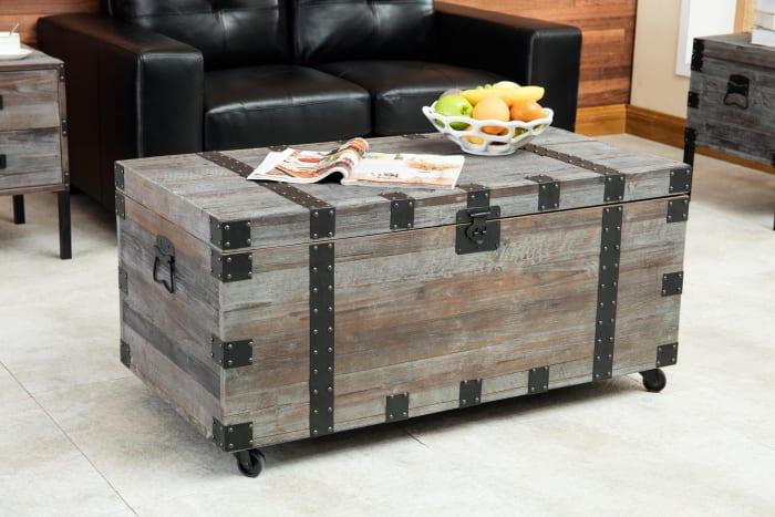 Burke Antique Gray 3-Piece Trunk Table Set