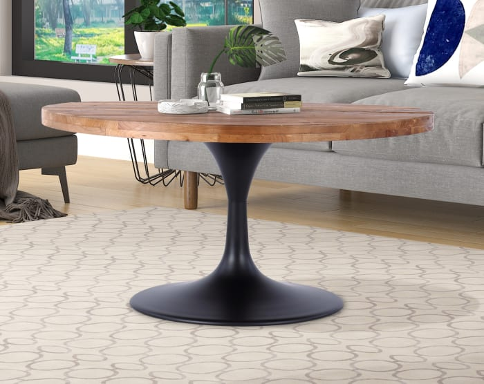 Camberwell Reclaimed Pedestal Wood and Metal Round Coffee Table