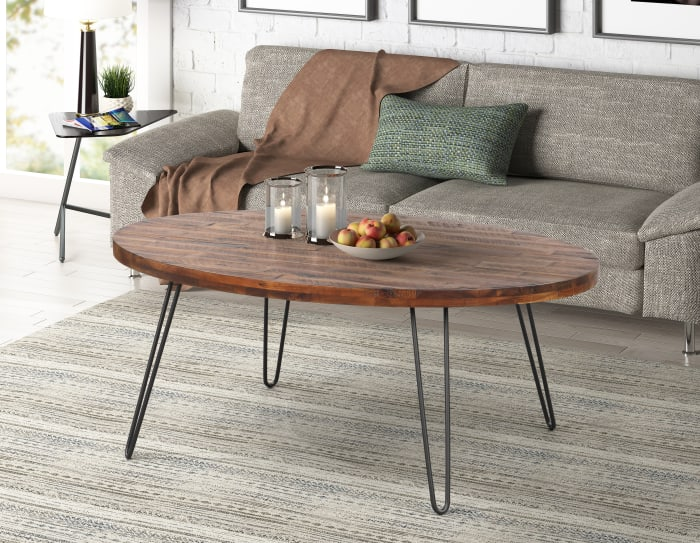 Novah Dark Brown Oval Cocktail Table