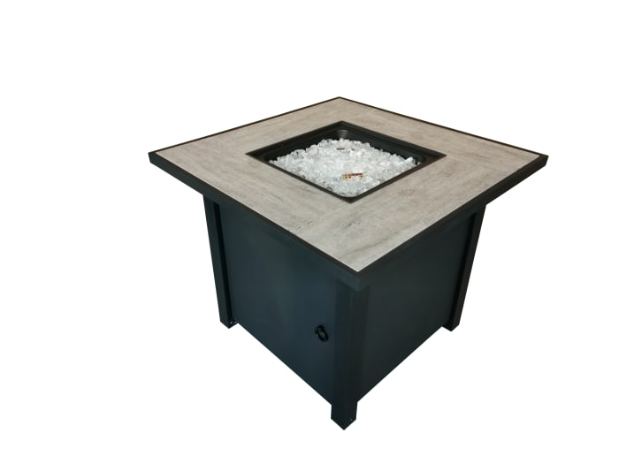 Bantana Black Metal and Tile Square Fire Pit with Glass Rocks
