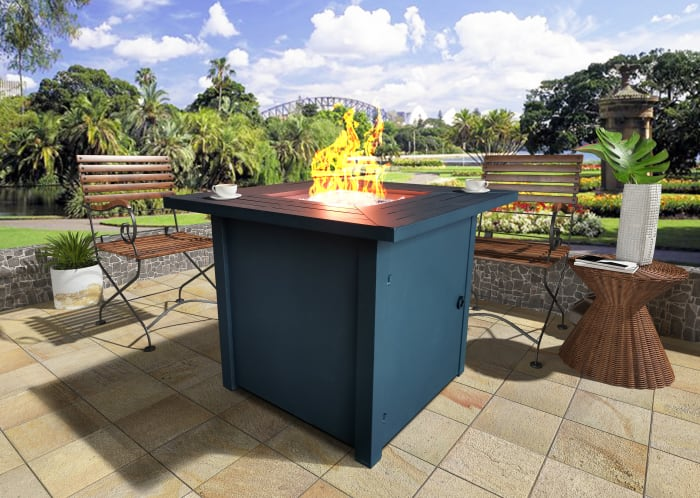 Belitung Black Metal Square Fire Pit Table with Glass Rocks
