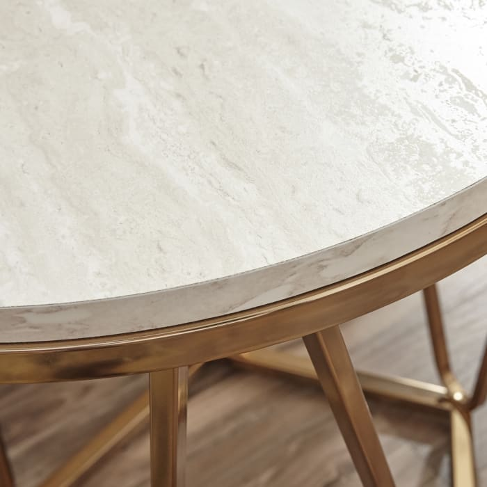 Carver Faux Stone Round Coffee Table