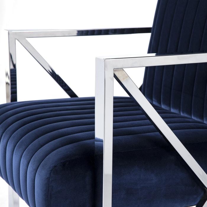 Drexel Deep Blue with Chrome Velveteen Accent Chair