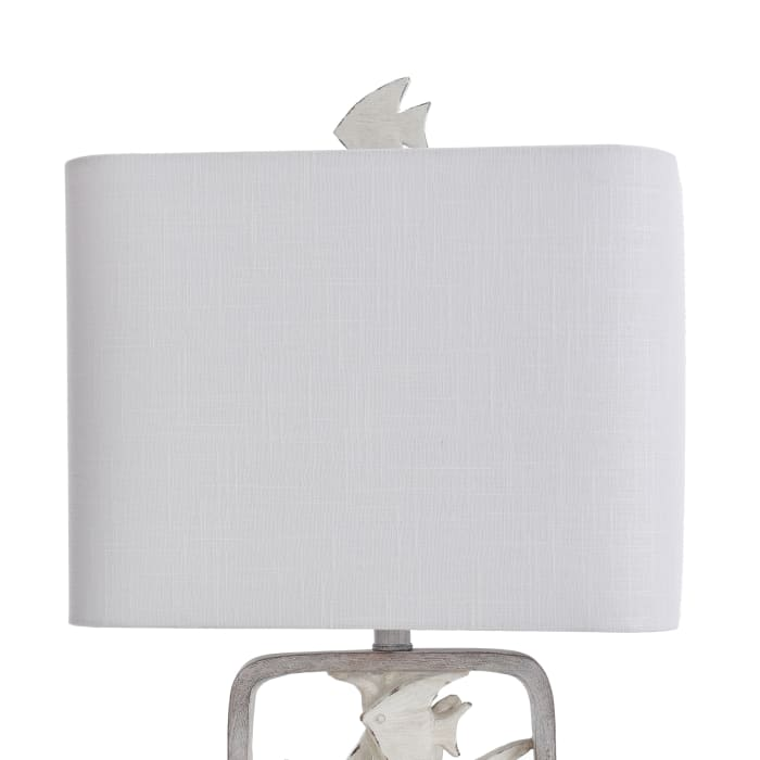Two Tone Framed Tropical Fish Moulded Table Lamp