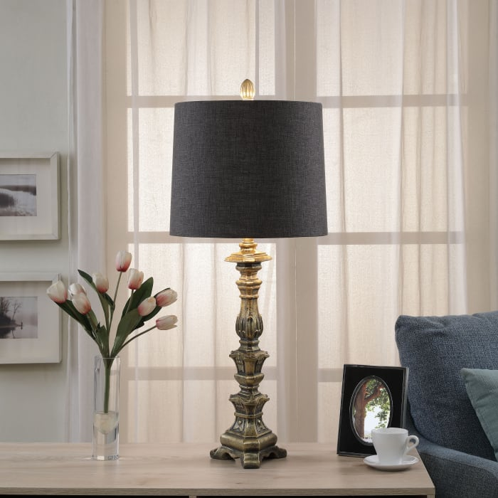 Traditional Antique Gold Painted Base Table Lamp