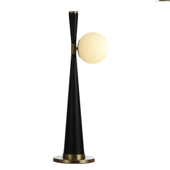 Contemporary Slim Black Tapered Table Lamp
