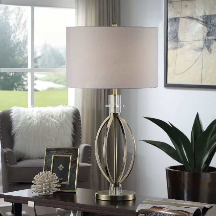 Brass Double Ring Table Lamp