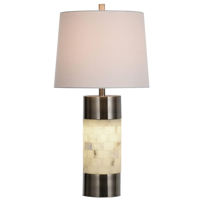 Alabaster with Brushed Brass Body Table Lamp
