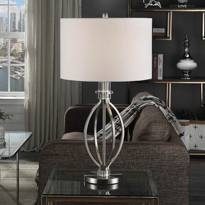 Brushed Steel Double Ring Table Lamp