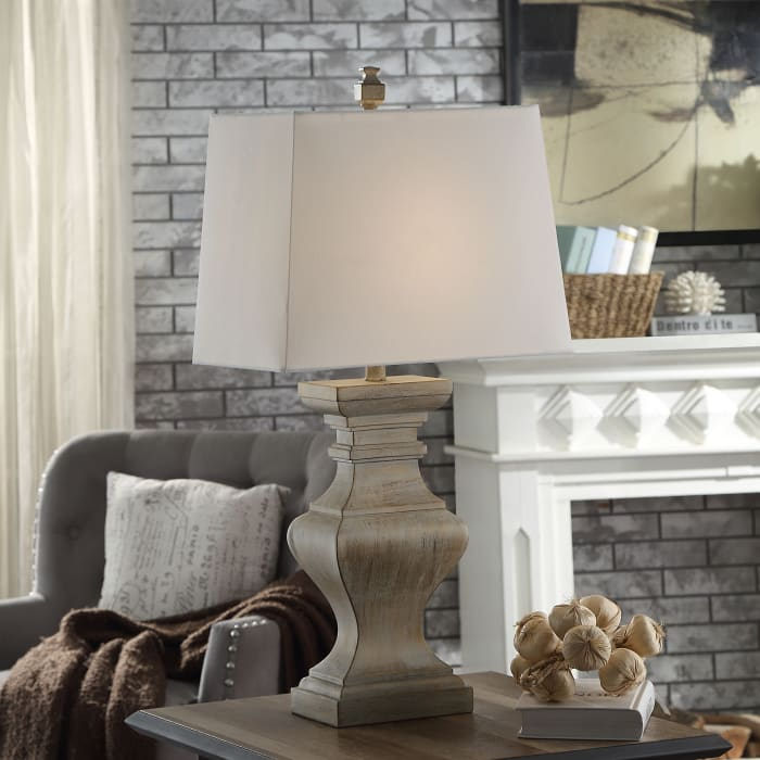 Square Candlestick Gold Table Lamp