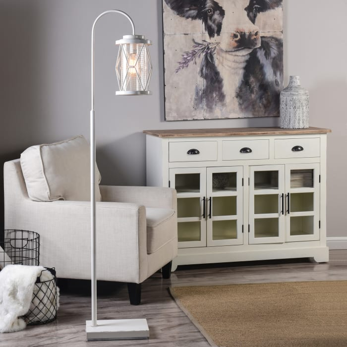White Steel Wire Cage Shade Floor Lamp
