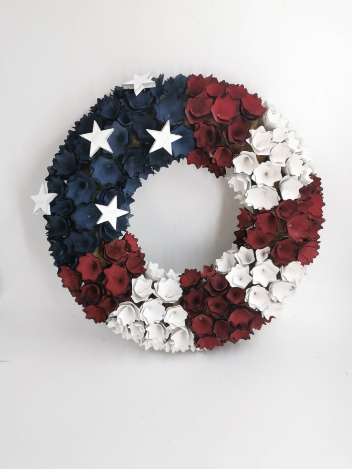 Pier 1 Americana Wood Curl Wreath 18' Wide