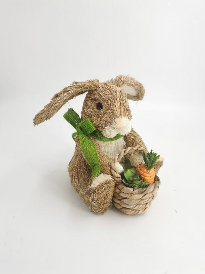 Pier 1 Sisal Bunny with Basket 6.3