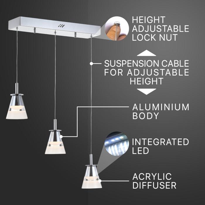 Light Adjustable Cascading Metal Integrated Linear LED Pendant, Chrome
