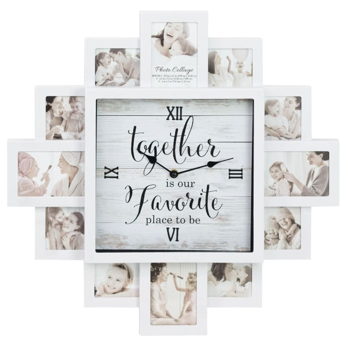 Together White Picture Frame Collage Wall Clock