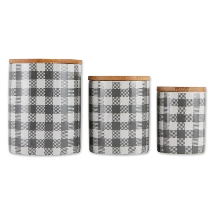 Gray & White Buffalo Check Ceramic Set of 3 Canister