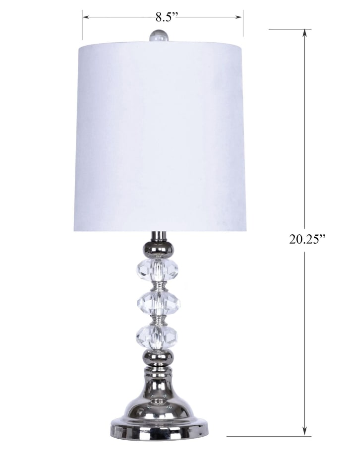 Polished Nickel Genuine Crystal Accents Set of 2 Table Lamps