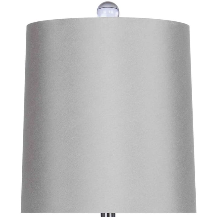 Brushed Nickel Genuine Crystal Accent Set of 2 Table Lamps