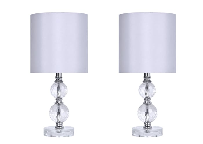 Genuine Crystal Accent with Polished Chrome Set of 2 Table Lamps