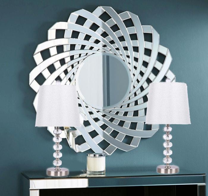 Brushed Nickel Genuine Crystal Set of 2 Table Lamps