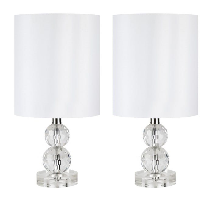 Small Genuine Crystal Accent Set of 2 Table Lamps