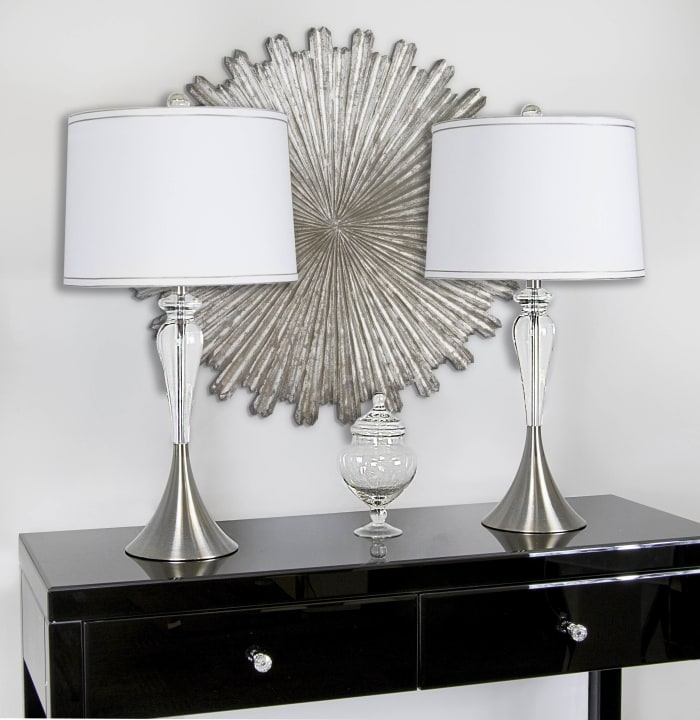 Sleek Crystal with Brushed Nickel Set of 2 Table Lamps