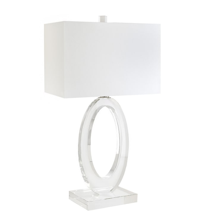 Genuine Crystal with Flawless Crystal Oval Ring Body Table Lamp
