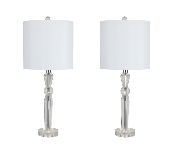 Clear Crystal With Polished Nickel Finish Set of 2 Table Lamps