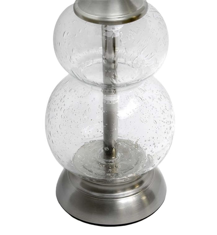 Brushed Nickel & Clear Seeded Glass Set of 2 Table Lamps