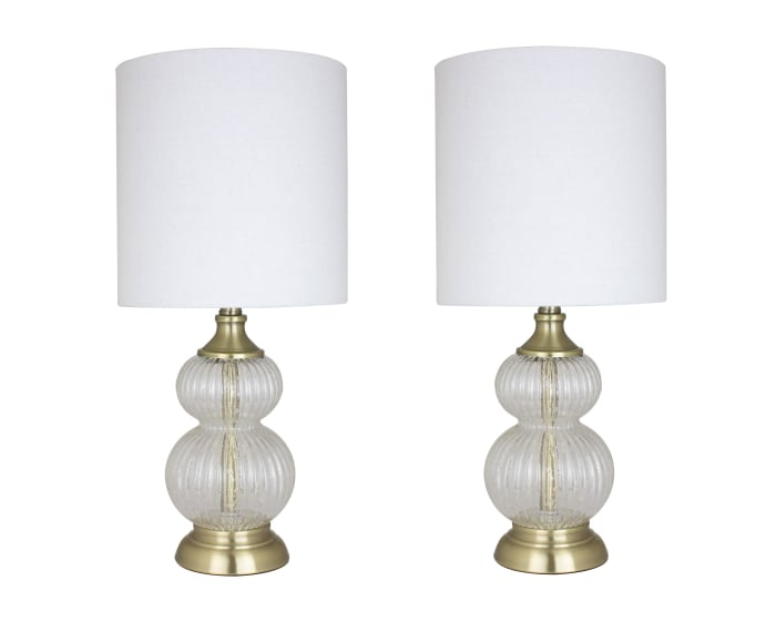 Clear Glass Set of 2 Table Lamps