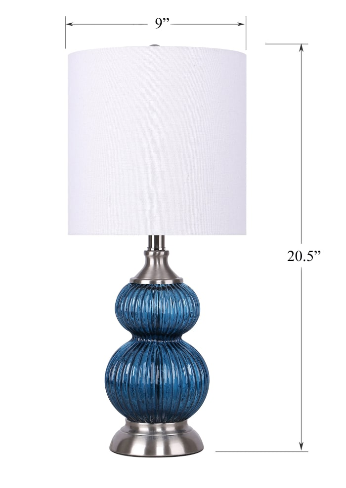Sapphire Blue Glass with Brushed Nickel Finish Set of 2 Table Lamps