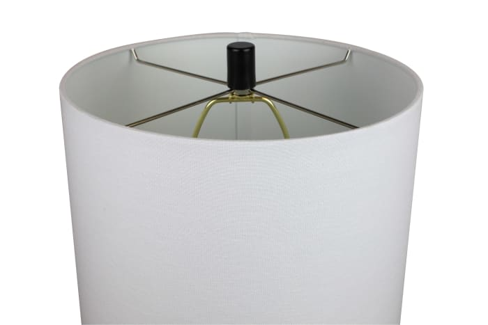 Clear Glass with White Fabric Drum Shade Table Lamp