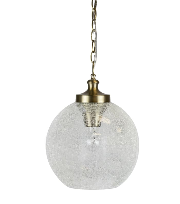 Clear Crackle Glass with Plated Gold Chain Pendant