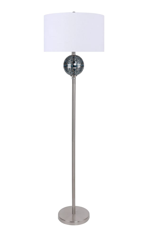 Brushed Nickel with Clear Teal Blue Glass Floor Lamp