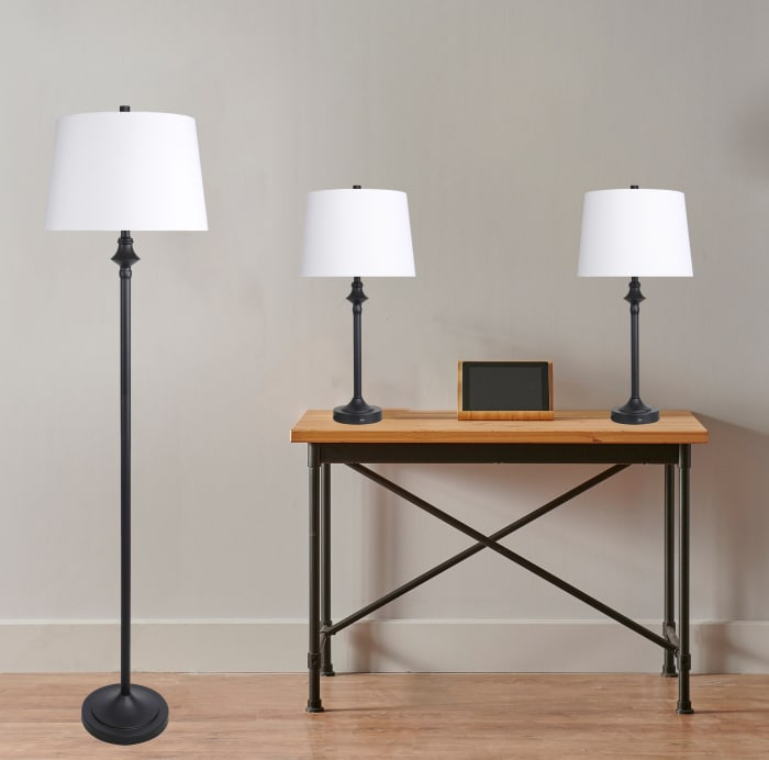 Matte Black Metal Floor Lamp and Matte Black Metal Set of 2 Table Lamps