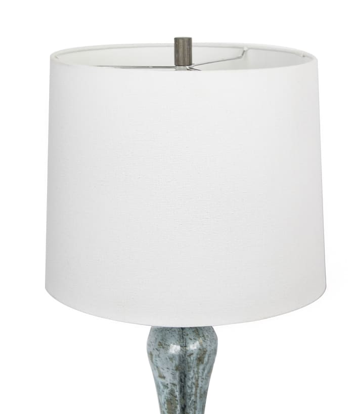 Blue Glass with Dusty Wood Base White Fabric Shade Table Lamp