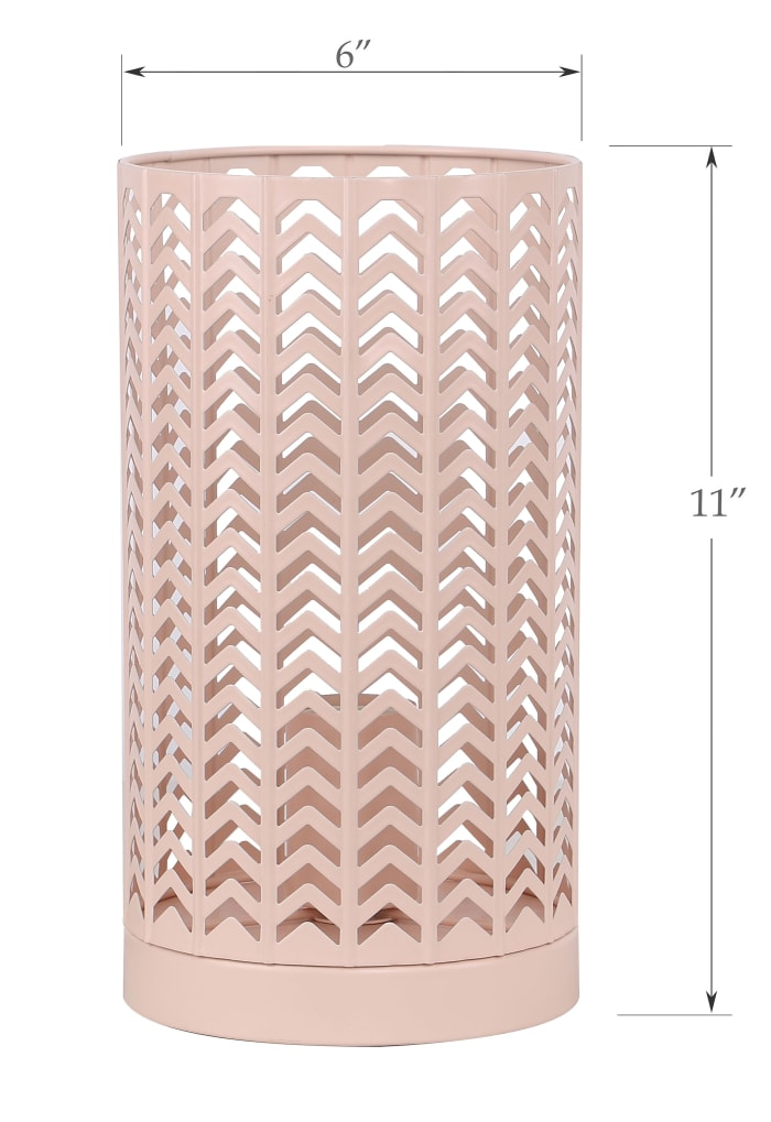 Metal with Chevron Design and Blush Finish Accent Table Lamp