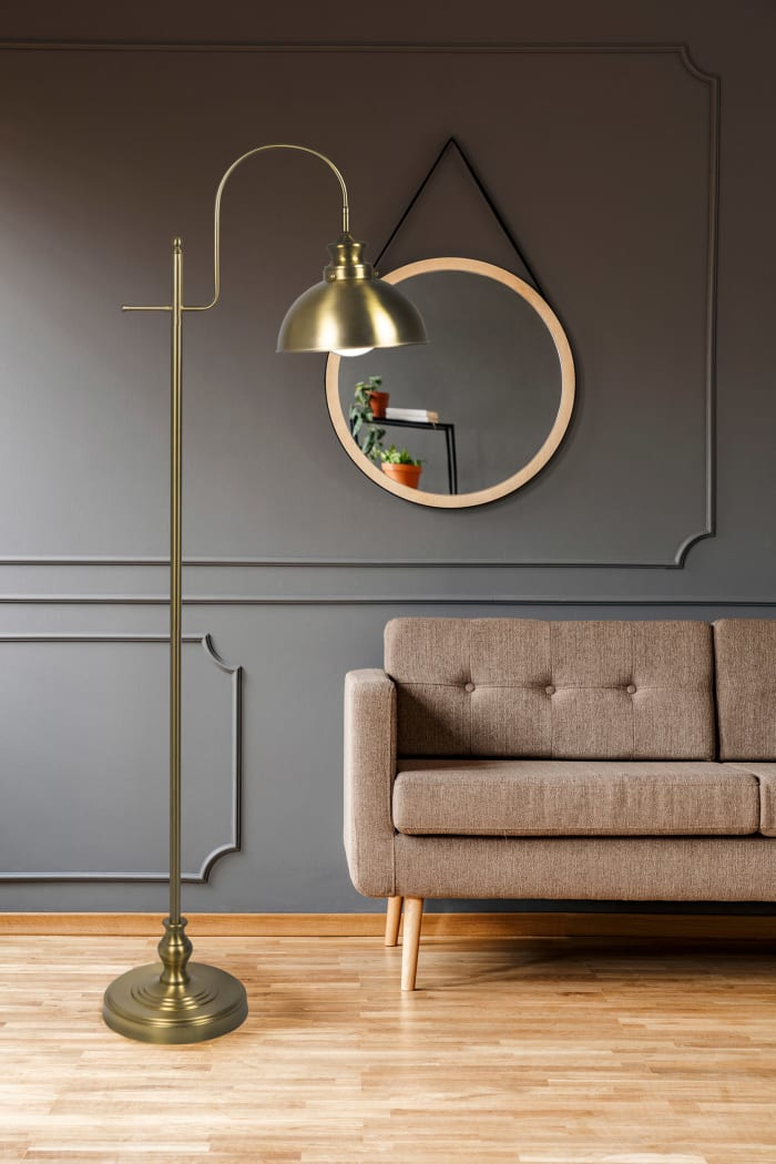 Transitional Plated Gold Floor Lamp