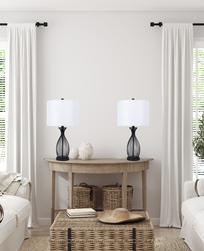 Matte Black Set of 2 Table Lamps
