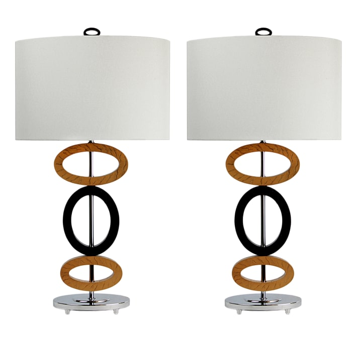 Cedar Wood & Bronze Poly Set of 2 Table Lamps